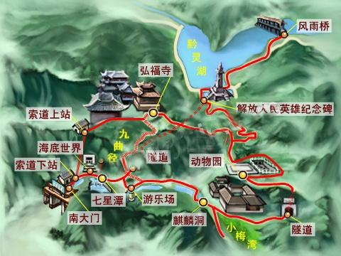 黔灵公园旅游示意图
